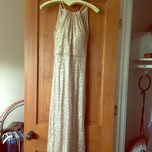 Floor-Length, Light Rose Gold Sequined Dress!!